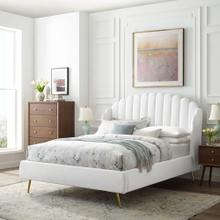 Lana Queen Performance Velvet Wingback Platform Bed in White