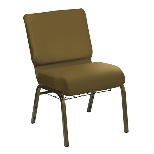HERCULES Series 21''W Church Chair in E-Z Wallaby Tan Vinyl with Book Rack - Gold Vein Frame