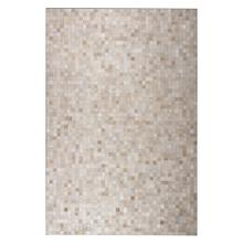 Durable Handmade Natural Leather Patchwork Cowhide Tikkul Area Rug by Rug Factory Plus - 5' x 7' / Beige