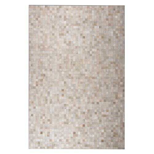 Durable Handmade Natural Leather Patchwork Cowhide Tikkul Area Rug by Rug Factory Plus - 8' x 10' / Beige