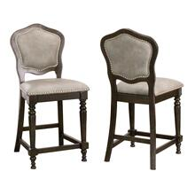 CR-87711-24-2  Vegas Upholstered Barstools with Backs  Counter Height Dining Chairs  Distressed Gray Wood  Nailheads  Set of 2