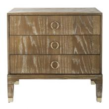 Lorna 3 Drawer Contemporary Night Stand - Rustic Oak