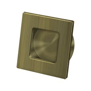 "Flush Pull, Square, HD, 2-3/4""x 2-3/4"", Solid Brass - Antique Brass"