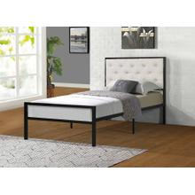 7577 BEIGE Headboard Metal Platform Bed - TWIN
