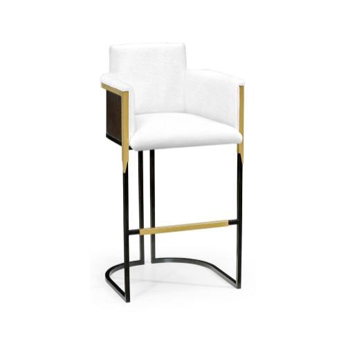 High Back Black Eucalyptus & Brass Tub Bar Stool, Upholstered in COM