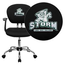 Lake Erie College Storm Embroidered Black Mesh Task Chair with Arms and Chrome Base