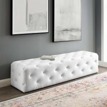 "Amour 72"" Tufted Button Entryway Faux Leather Bench in White"