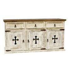 "White : 63"" x 21"" x 34"" Turquoise 3 Door/Drawer Buffet W/Cross"