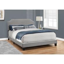 See Details - BED - QUEEN SIZE / GREY LINEN WITH CHROME TRIM