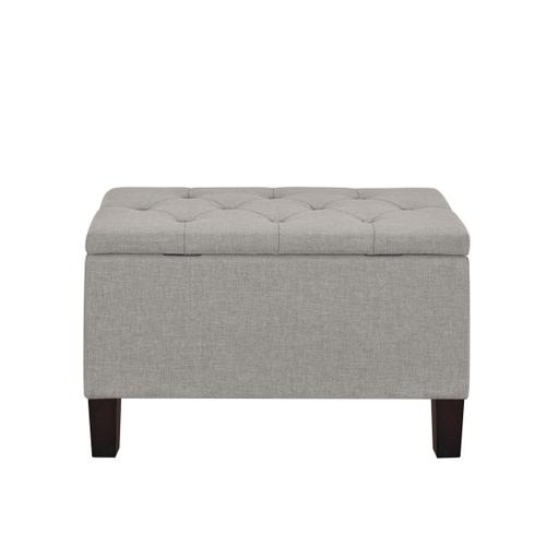 Accentrics Home - 29 Inch Hinged Top Storage Bench w/ Diamond Tufted Seat in Glacier