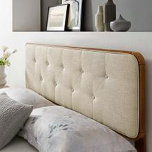 Collins Tufted King Fabric and Wood Headboard in Walnut Beige