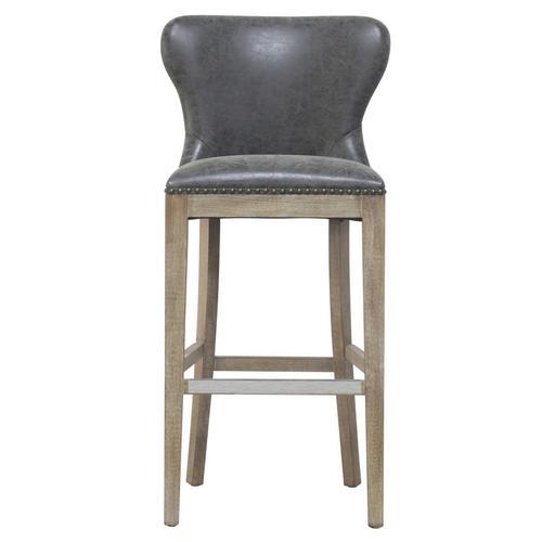 Dorsey PU Bar Stool Drift Wood Legs, Nubuck Charcoal