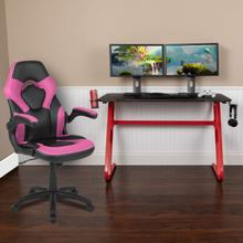 See Details - Red Gaming Desk and Pink\/Black Racing Chair Set with Cup Holder and Headphone Hook