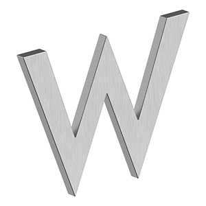 """Deltana - 4"""" LETTER W, B SERIES WITH RISERS, STAINLESS STEEL - Brushed Stainless"""