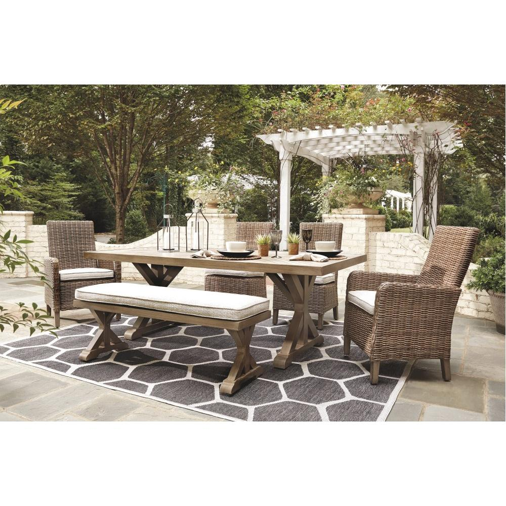 See Details - Outdoor Dining Table and 4 Chairs and Bench