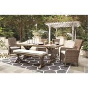 Outdoor Dining Table and 4 Chairs and Bench Product Image