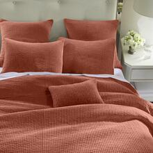 Stone Washed Cotton Velvet 3pc Quilt Set- 6 Colors (full/queen/king) - Full/queen / Salmon