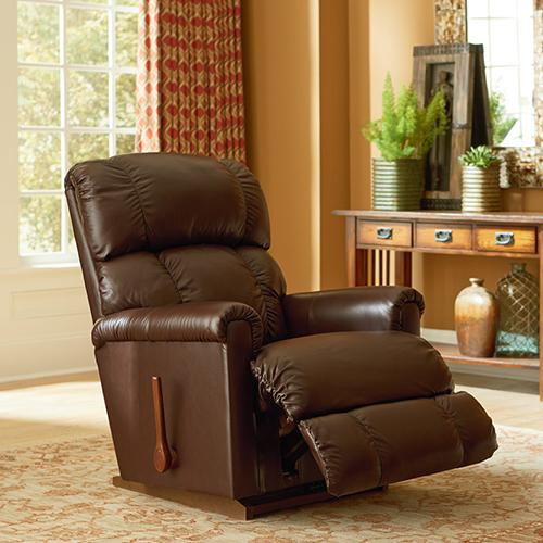 Pinnacle Rocking Recliner in Sand Leather