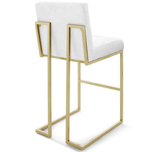 Privy Gold Stainless Steel Upholstered Fabric Bar Stool in Gold White