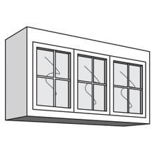 "See Details - Variable Bridge Top Unit, 3 Glass Doors with Mullions, 1 Adjustable Shelf, 12""d, 48""w "" 54""w"