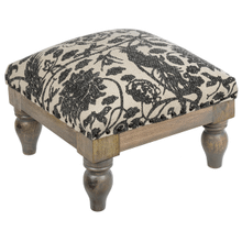 See Details - Grey Bird Block Print Foot Stool. Each One Will Vary.