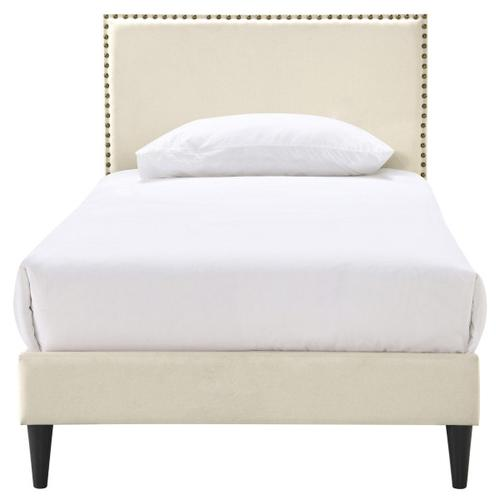 Nailhead Trim Upholstered Twin-Sized Platform Bed in Beige