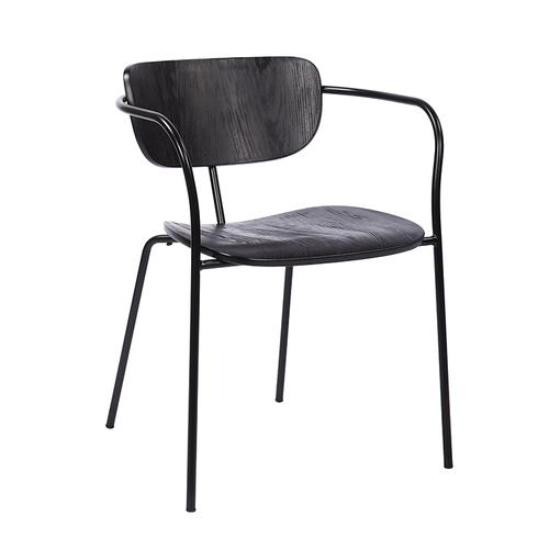 Armen Living - Gavin Steel Side Chair in Black Powder Coating Finish and Black Brushed Wood-Set of 2