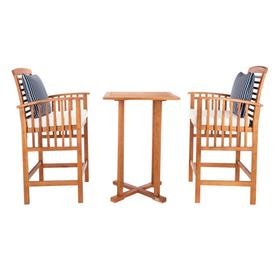 Pate 3 PC Bar 39.8-INCH H Table Bistro Set - Natural / Beige / Navy