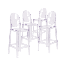 Modern Ghost Side Bar Stool Accent Stool Arm Less Chairs Seats Mid Century Design with Oval Back - Reproduction - Set-of-4, Clear