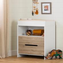 Cookie - Changing Table, Pure White and Rustic Oak