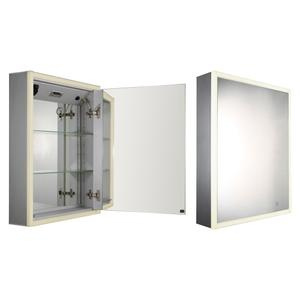 Musichaus single door anodized aluminum cabinet with USB, SD card, and Bluetooth compatibility, FM radio, two built-in speakers, electric outlet, defogger, and blue-lit LED power button and dimmer for light around the front. Product Image