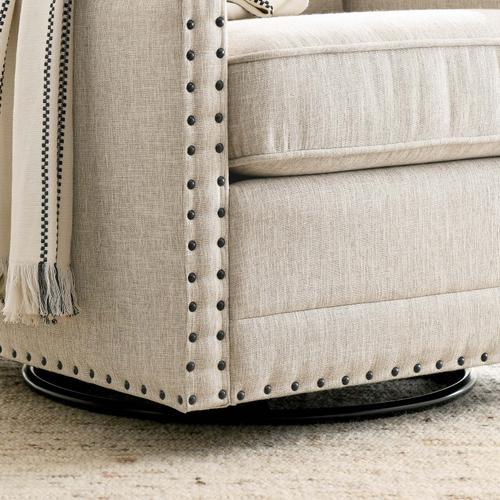 Modway - Ashton Upholstered Fabric Swivel Chair in Beige