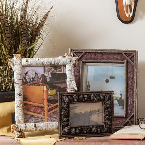 """Hiend Accents - Carved Pine Cone Picture Frame (4x6/8x10) - 8"""" X 10"""""""