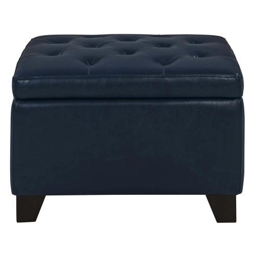 Julian Rectangular Bonded Leather Storage Ottoman, Vintage Blue