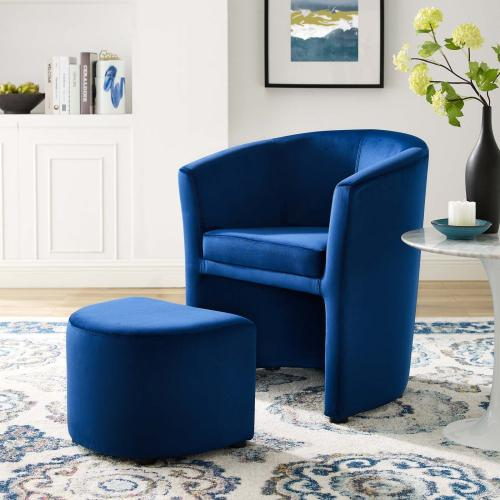 Divulge Performance Velvet Arm Chair and Ottoman Set in Navy