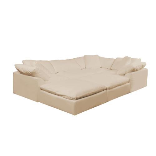 Cloud Puff Slipcovered Modular Pit Sectional Sofa - 391084 (6 Piece)
