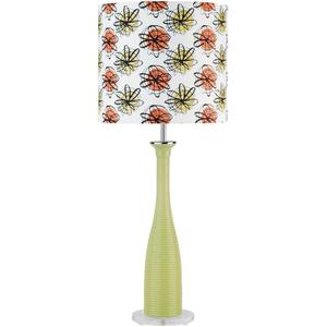 Lite Source - Table Lamp, Green Glass Body/color Printed Shade, A 60w