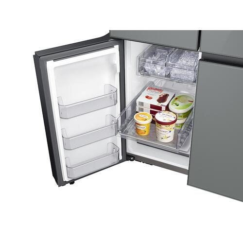 Samsung - 23 cu. ft. Smart Counter Depth BESPOKE 4-Door Flex™ Refrigerator with Customizable Panel Colors in Grey Glass