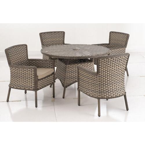 "Charlotte 48"" Round Aluminum Wicker Table w/umbrella hole"