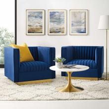 Sanguine Vertical Channel Tufted Upholstered Performance Velvet Armchair Set of 2 in Navy