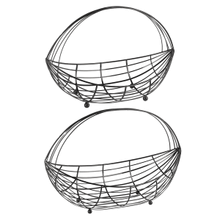 Black Enamel Wire Curved Basket (2 pc. set)