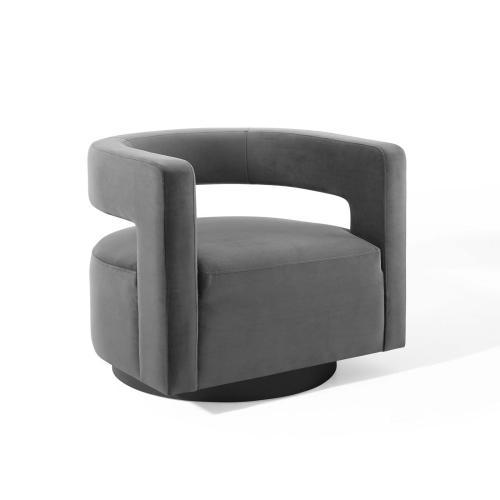 Modway - Spin Cutaway Performance Velvet Swivel Armchair in Gray