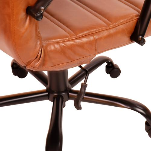 Gallery - High Back Brown LeatherSoft Executive Swivel Office Chair with Black Frame and Arms