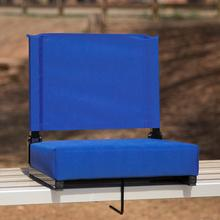 See Details - Grandstand Comfort Seats by Flash - 500 lb. Rated Lightweight Stadium Chair with Handle & Ultra-Padded Seat, Blue
