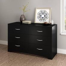 6-Drawer Double Dresser - Pure Black