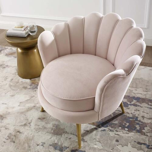 Admire Scalloped Edge Performance Velvet Accent Armchair in Pink