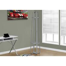 "COAT RACK - 72""H / SILVER METAL WITH AN UMBRELLA HOLDER"
