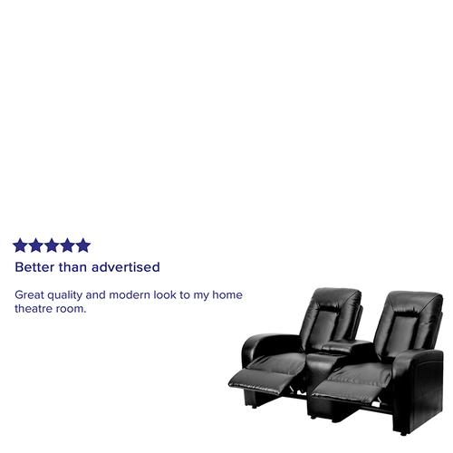 Flash Furniture - Eclipse Series 2-Seat Reclining Black LeatherSoft Theater Seating Unit with Cup Holders
