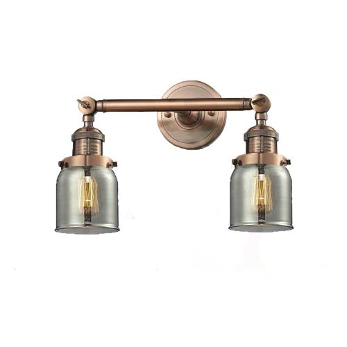 208-AC-G53 - SMALL GLASS BELL 2 LT WALL SCONCE
