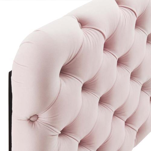 Lizzy Tufted King/California King Performance Velvet Headboard in Pink